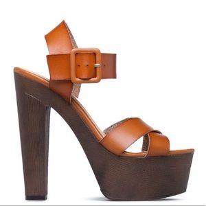 JUSTFAB Cherissa Tan Platform Heel Sandal 7 (NWOT)